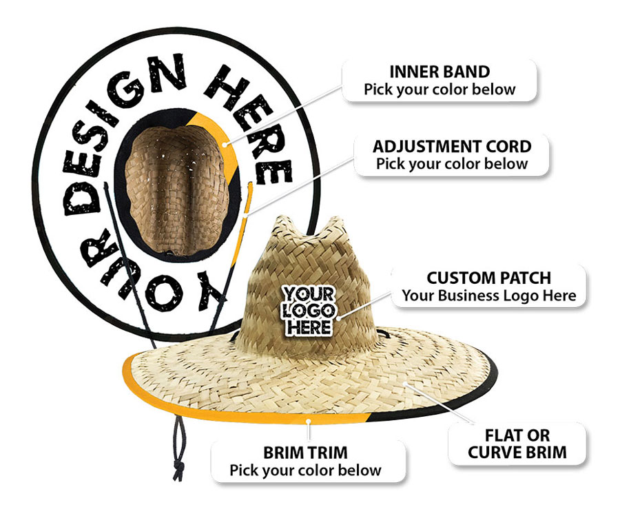 Custom wholesale hat details by Tiki Island Wear